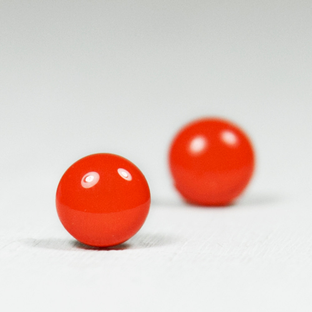 Fiesta Red Stud Earrings - Round Studs Orange Earrings - Handmade Polymer Clay Posts Jewelry