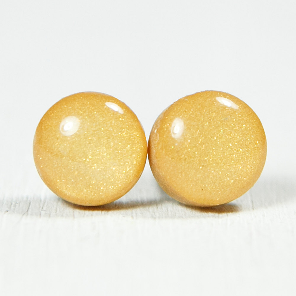Gold Stud Earrings - Medium Post Earrings - Handmade Polymer Clay Posts Studs Jewelry