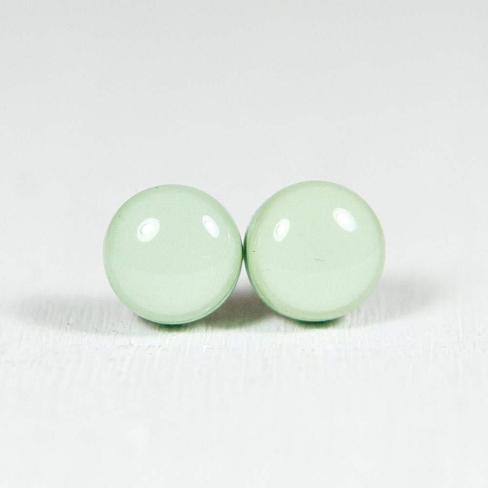 Mint Green Stud Earrings - Polymer Clay Earrings - Small Posts Earring Jewellery