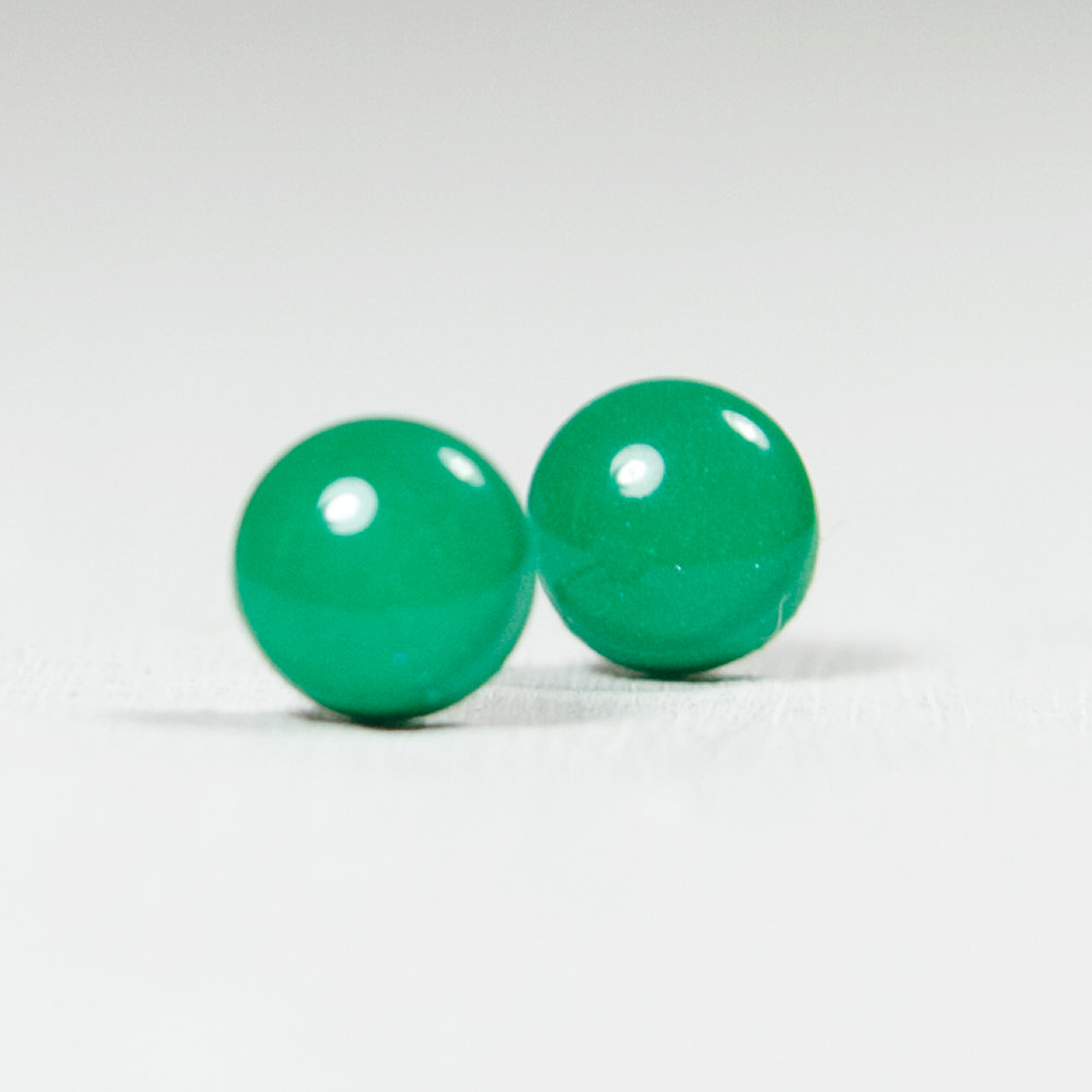 Emerald Green Polymer Clay Resin Stud Earrings - Posts Studs Jewelry Jewellery