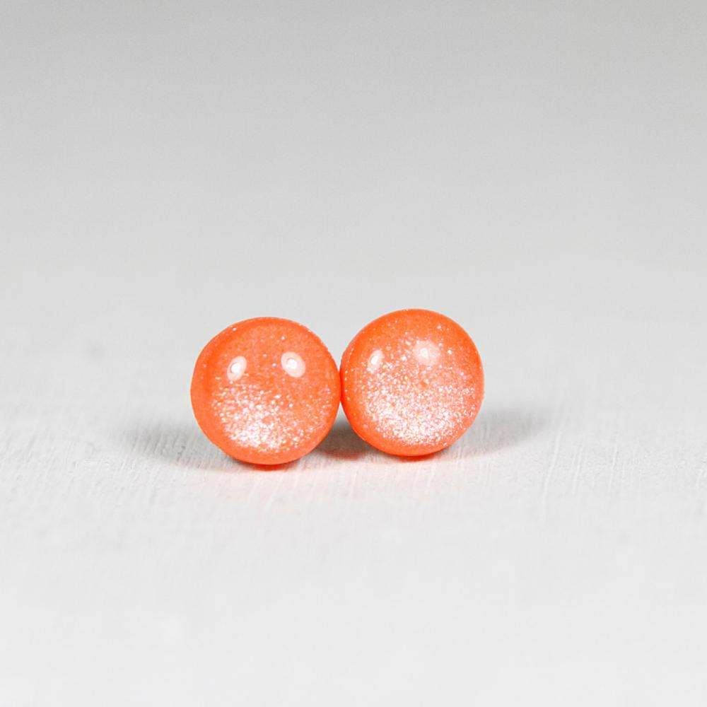 Orange Shimmer Earrings Studs - Small Round Earrings with Sparkle - Polymer Clay Posts Jewelry