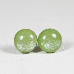 Moss Green Shimmer Earrings - Medium Stud Earrings - Handmade Polymer Clay Posts Jewelry